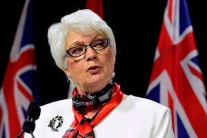 Ontario Education Minister Liz Sandals speaks at a press conference in Toronto on May 25, 2015. (Frank Gunn / THE CANADIAN PRESS)