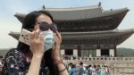 An unidentified Chinese tourist wearing a mask by way of precaution against the Middle East Respiratory Syndrome virus visits Gyeongbok Palace in Seoul, South Korea, Monday, June 1, 2015. (Choi Jae-koo / Yonhap via AP)