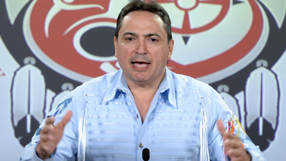 Assembly of First Nations national Chief Perry Bellegarde holds a news conference in Ottawa on Monday, June 1, 2015. (THE CANADIAN PRESS / Sean Kilpatrick)
