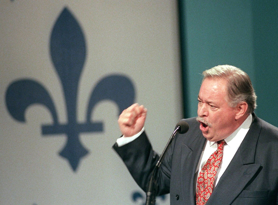 Then-Quebec Premier Jacques Parizeau gestures during his speech to 'Yes' supporters after losing the referendum in Montreal on Oct. 30, 1995. (Ryan Remiorz / THE CANADIAN PRESS)