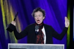 Laurie Anderson speaks at the Rock and Roll Hall of Fame Induction Ceremony Saturday, April 18, 2015, in Cleveland. (AP Photo/Mark Duncan)