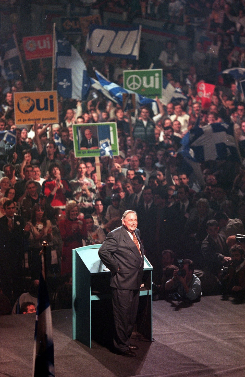 Then-Quebec Premier Jacques Parizeau acknowledges the applause from the crowd during a Yes rally in Montreal on Oct. 25, 1995. (Paul Chiasson / THE CANADIAN PRESS)