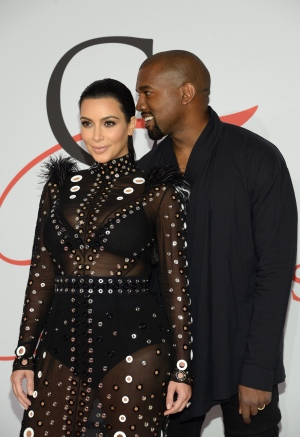 Kim Kardashian, left, and Kanye West arrive at the 2015 CFDA Fashion Awards at Alice Tully Hall, Lincoln Center, on Monday, June 1, 2015, in New York. (Photo by Evan Agostini/Invision/AP)