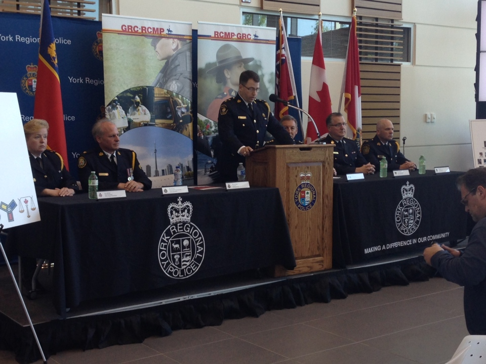 Investigators involved in Project OPhoenix speak at a news conference on Wednesday, June 3, 2015 in Aurora, Ont. (Heather Butts/ CTV Barrie)