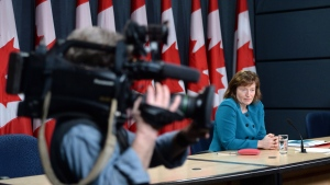 Suzanne Legault holds a press conference in Ottawa, on March 31, 2015. (Sean Kilpatrick / THE CANADIAN PRESS)