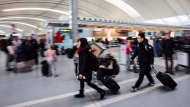 People carry luggage at Pearson International Airport in Toronto on December 20, 2013. (Mark Blinch / The Canadian Press)
