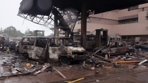 The remaining structure of a gas station after it exploded in Accra, Ghana, on June 4, 2015. (AP / Christian Thompson)