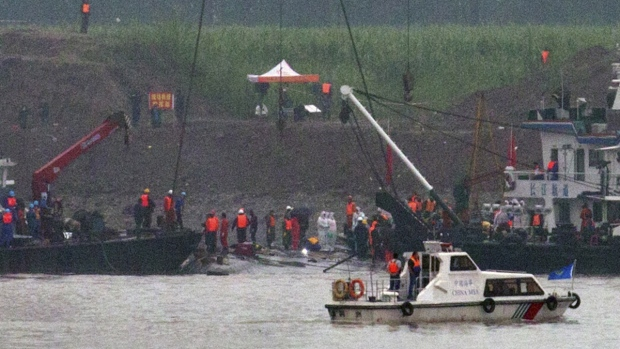 Capsized ship on the Yangtze River in China