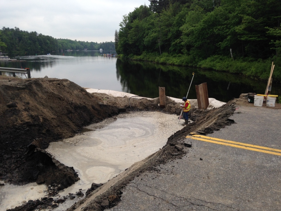 A portion of Muskoka Road 169 was closed near MacTier for crews to repair damages caused after a washout. (Steve Mansbridge / CTV Barrie)