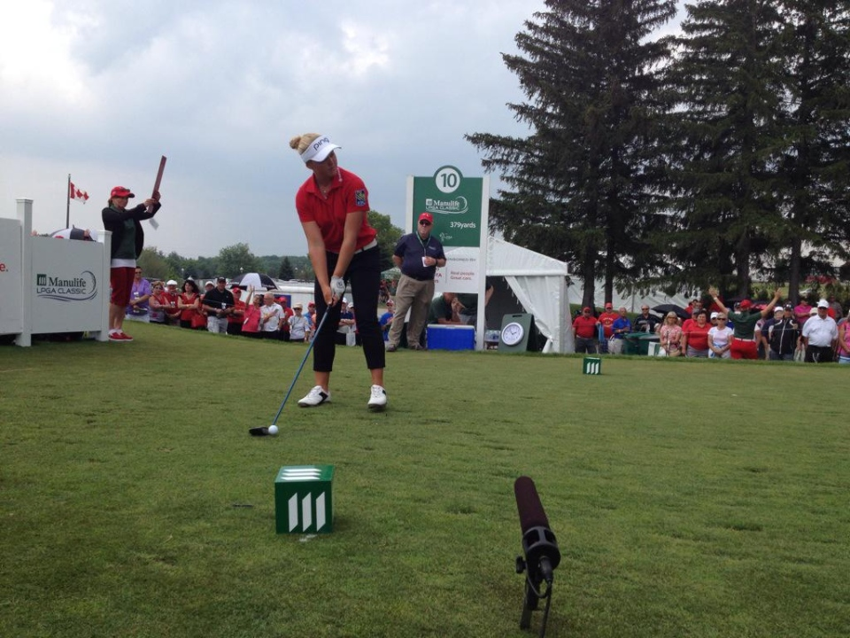 Brooke Henderson gets ready to take a shot at the Manulife LPGA Classic on Friday June 5, 2015.