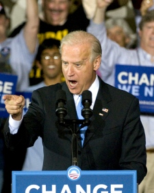 Democratic U.S. vice-presidential candidate Joe Biden delivers his election eve speech in Copley, Ohio, on Monday Nov. 3, 2008. (AP / Phil Long)