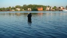 Man takes water sample