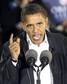 Democratic U.S. presidential candidate Barack Obama speaks at a rally at the University of North Carolina in Charlotte, N.C., on Monday, Nov. 3, 2008. (AP / Chuck Burton)