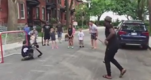 Habs defenceman P.K. Subban plays street hockey with a group of kids in Montreal on Sunday, June 7, 2014. (YouTube / Aaron Fraser)