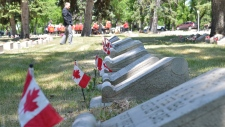 Dozens of people gathered at Victoria Park in Regina to commemorate the 71st anniversary of D-Day on Saturday, June 6, 2015. (CTV REGINA/Amanda Symynuk)