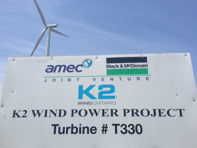 One of the 140 turbines of the K2 Wind Power Project is seen near Goderich, Ont. on Monday, June 8, 2015. (Scott Miller / CTV London)
