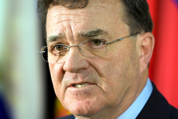 Finance Minister Jim Flaherty answers questions after meeting with provincial finance ministers in Toronto, on Monday, Nov. 3, 2008. (Frank Gunn / THE CANADIAN PRESS).