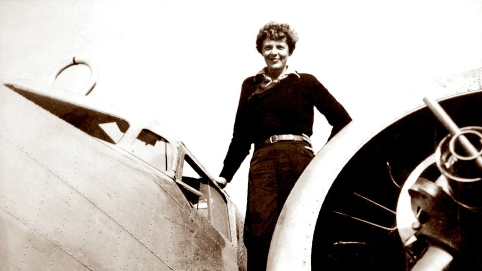 In a photo provided by The Paragon Agency, aviator Amelia Earhart on the wing of her Electra plane, taken by Albert Bresnik at Burbank Airport in Burbank, Calif. on May 20, 1937. (The Paragon Agency / Albert Bresnik)
