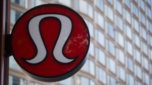 Lululemon Athletica's logo is seen on the outside of their new flagship store on Robson Street during its grand opening in downtown Vancouver, B.C., on Thursday August 21, 2014.  (THE CANADIAN PRESS/Darryl Dyck)