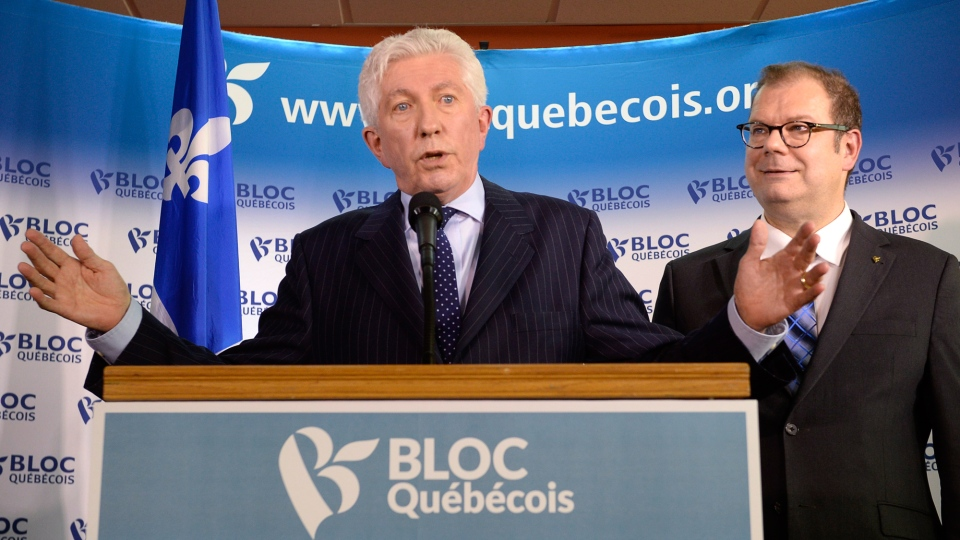 Bloc Quebecois Leader Gilles Duceppe speaks at a news conference in Montreal on Wednesday, June 10, 2015 as party president Mario Beaulieu looks on. (Ryan Remiorz / THE CANADIAN PRESS)