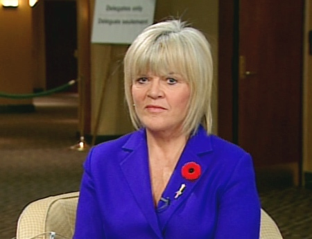 Alberta Finance Minister Iris Evans speaks on CTV's Canada AM from Toronto, Monday, Nov. 3, 2008.