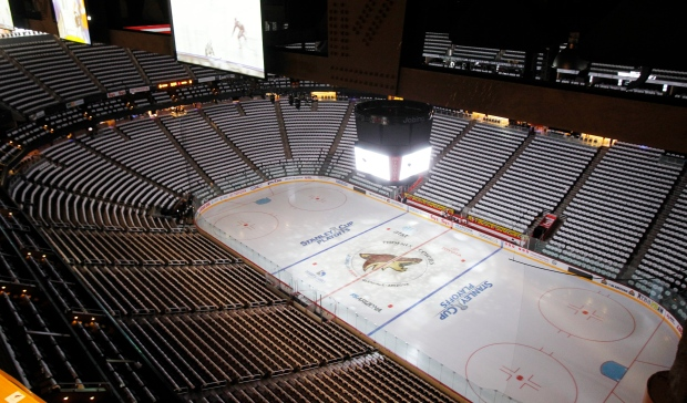 In this April 12, 2011, file photo, the Jobing.com Arena, home of the NHL hockey Phoenix Coyotes, sits empty before a Stanley Cup playoff game in Glendale, Ariz. (Ross D. Franklin / AP Photo)