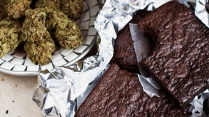This undated image provided by Elise McDonough via Chronicle Books shows brownies made from a recipe in the 'The Official High Times Cannabis Cookbook.'  (AP / Elise McDonough)