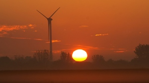 Sunrise on a wind turbine being erected by Kruger in St.Isidore Quebec.The wind farm will have in all 44 turbines.The Canadian Press Images-Mario Beauregard