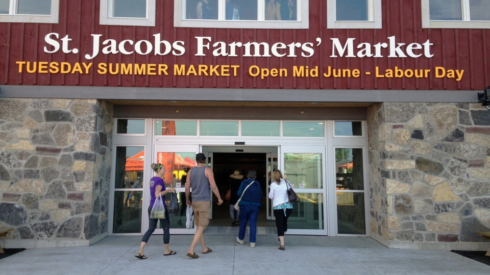 Shoppers walk into the St. Jacobs Farmers' Market on Thursday, June 11, 2015. (Brian Dunseith / CTV Kitchener)