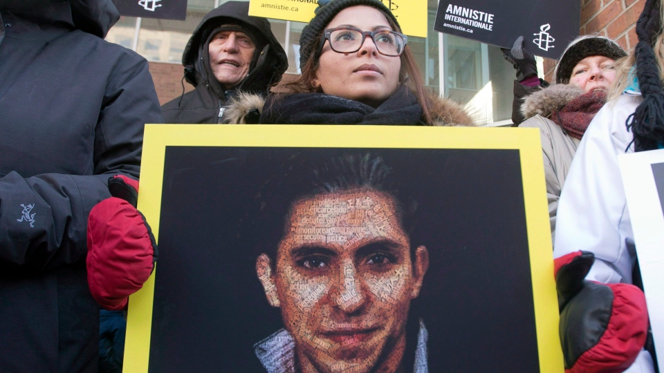 Ensaf Haidar, wife of blogger Raif Badawi, takes part in a rally for his freedom in Montreal on Jan. 13, 2015. (Ryan Remiorz / THE CANADIAN PRESS)