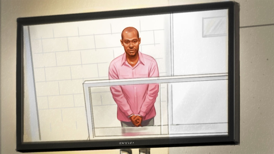 This courtroom sketch shows Ali Omar Ader, a 37-year-old Somali national, appearing in an Ottawa courtroom via video link on Friday, June 12, 2015. (Greg Banning / CTV News)