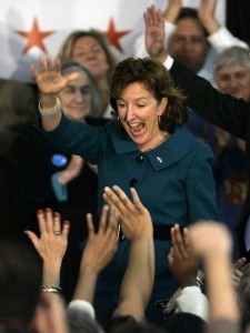 Senator-elect Kay Hagan, D-N.C., celebrates at her election party in Greensboro, N.C., Tuesday, Nov. 4, 2008. (AP Photo / Gerry Broome)