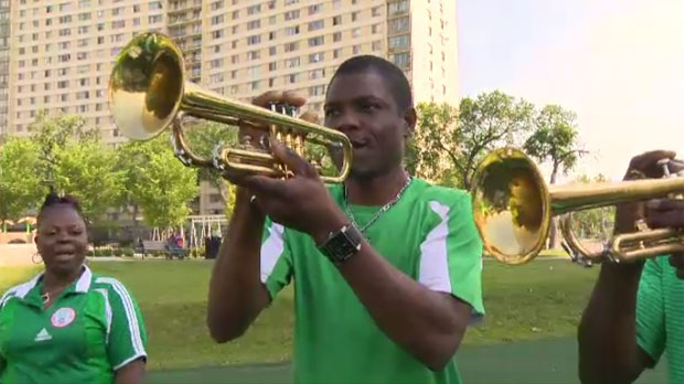 The musicians are members of the Nigeria Football Supporters Club, and hail from Toronto.