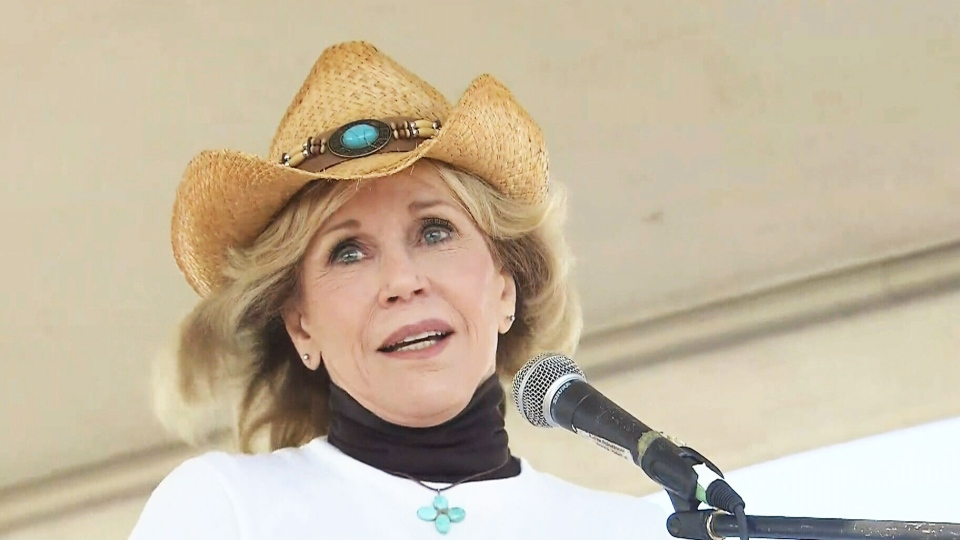 Jane Fonda speaks at a protest against the Kinder Morgan Trans Mountain pipeline in Vancouver on Saturday, June 13, 2015.