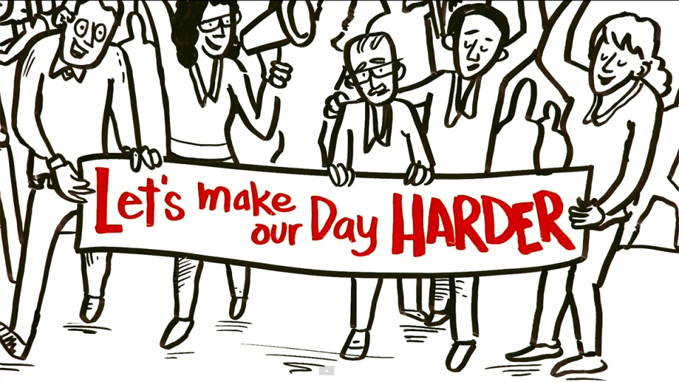 #MakeYourDayHarder video image (YouTube)
