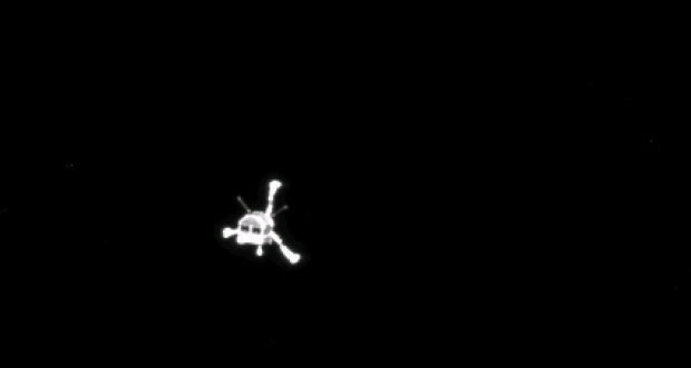 The picture of the Philae lander released by the European Space Agency ESA on Wednesday, Nov. 12, 2014 was taken by Rosetta's OSIRIS system shortly after its separation from the mother spaceship. (AP Photo/ESA)