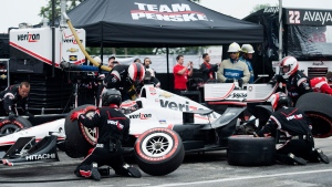 Will Power of Australia make a pit stop during the Honda Toronto Indy in Toronto on Sunday, June 14, 2015. (Nathan Denette / THE CANADIAN PRESS)