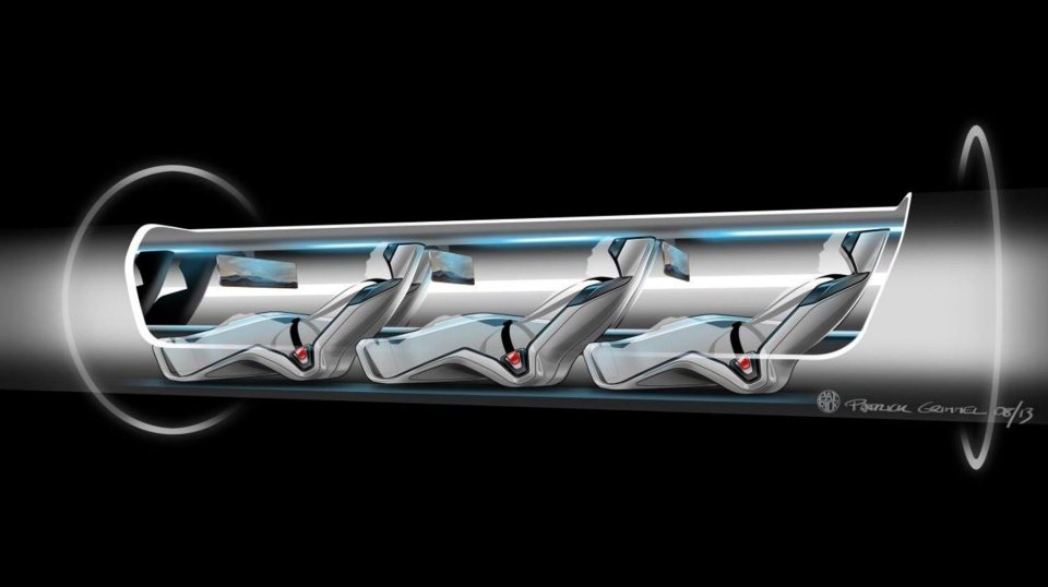 This conceptual design rendering provided by SpaceX shows a Hyperloop passenger transport capsule within a tube, the core of a high-speed system that billionaire Elon Musk suggested two years ago, that would zoom passenger capsules through elevated tubes at the speed of sound. (SpaceX / AP Photo)