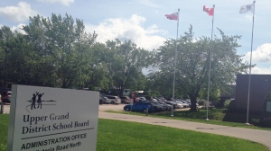 A sign for the Upper Grand District School Board administration building is pictured on Monday, June 15, 2015. (Abigail Bimman / CTV Kitchener)