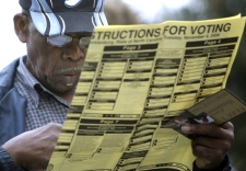 Roy Kilgo examines a voting ballot as he waits in line in Charlotte, N.C., Tuesday, Nov. 4, 2008. (AP / Chuck Burton)
