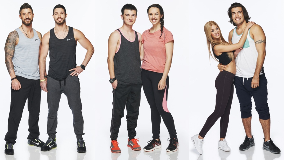 The teams of, left to right, Gino and Jesse, Hamilton and Michaelia, and Max and Elias were announced for the upcoming season of 'The Amazing Race Canada' on Monday, June 15, 2015.