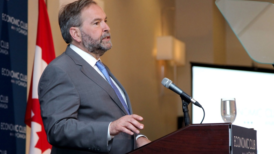 NDP Leader Tom Mulcair speaks to the Economic Club of Toronto on Tuesday, June 16, 2015. (Colin Perkel / THE CANADIAN PRESS)