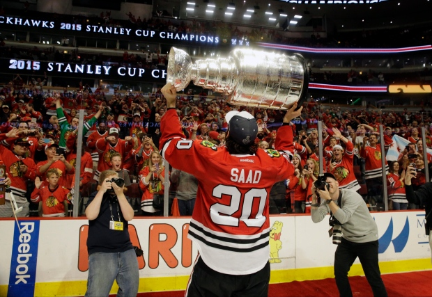 433155e6 Chicago Blackhawks' Brandon Saad celebrates after defeating the Tampa Bay  Lightning in Game 6 of the NHL hockey Stanley Cup Final series on June 15,  2015, ...