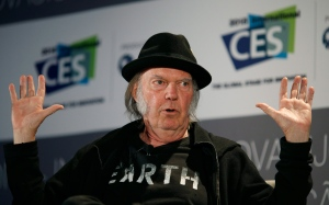 Musician Neil Young speaks during a session at the International CES on Jan. 7, 2015, in Las Vegas. (John Locher / AP Photo)