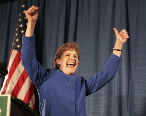 Democratic Senator-elect Jeanne Shaheen arrives to a cheering crowd after defeating Republican incumbent U.S. Sen. John Sununu in Manchester, N.H. Tuesday Nov. 2, 2008. (AP Photo / Jim Cole)