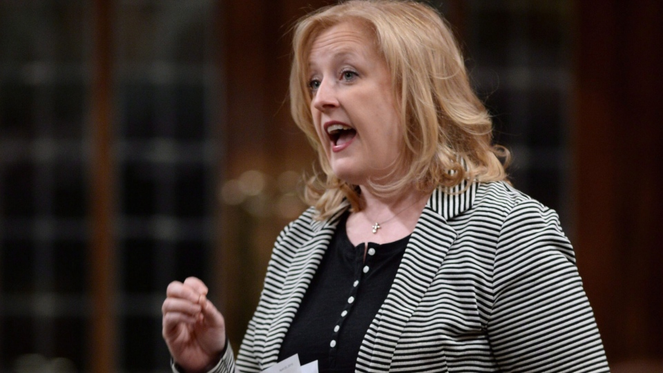 Lisa Raitt answers a question during question period in the House of Commons in Ottawa on Monday, April 20, 2015. (Sean Kilpatrick / THE CANADIAN PRESS)