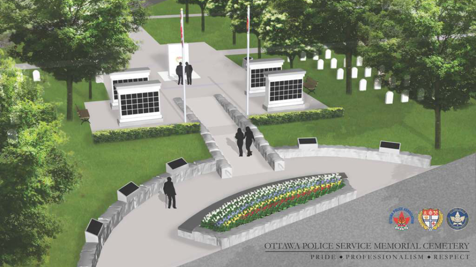 Artist rendering of Phase One plan of the Ottawa Police Memorial Cemetery at the Beechwood Cemetery. (OPS)