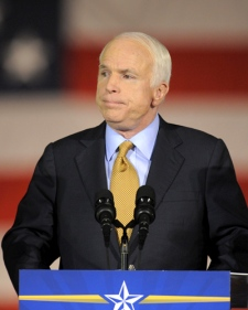 U.S. Sen. John McCain, R-Ariz., concedes to Barack Obama during a speech to supporters in Phoenix, Ariz., on Tuesday, Nov. 4, 2008. (AP / Chris Carlson)