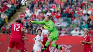 Canada's goalkeeper Erin McLeod (1) makes a save against New Zealand during FIFA World Cup during first half action in Edmonton, Alta., on Thursday June 11, 2015. (Jason Franson /The Canadian Press)