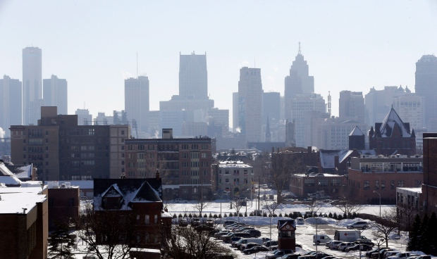 In a photo from Feb. 12, 2014, the Detroit skyline is seen from the city's midtown. (AP/Carlos Osorio)